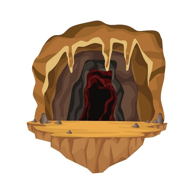 Scène Intérieure De La Grotte Dans La Montagne Profonde Vecteur Premium