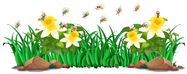 Scène de jardin avec des fleurs et des abeilles Vecteur gratuit