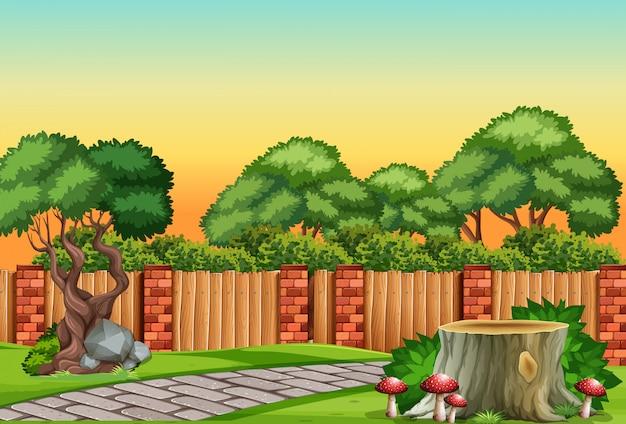 Une scène de jardin nature Vecteur gratuit