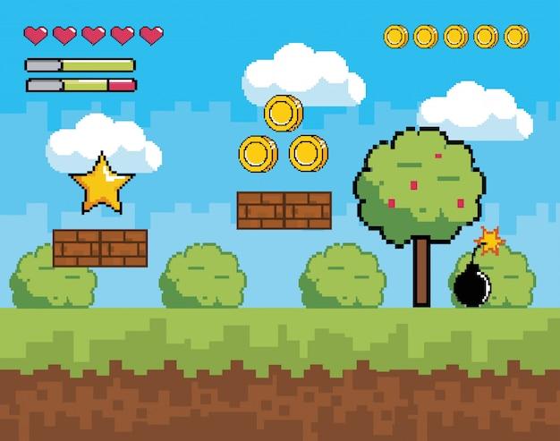 Scène de jeu vidéo pixélisée avec des buissons de plantes et d'arbres Vecteur Premium