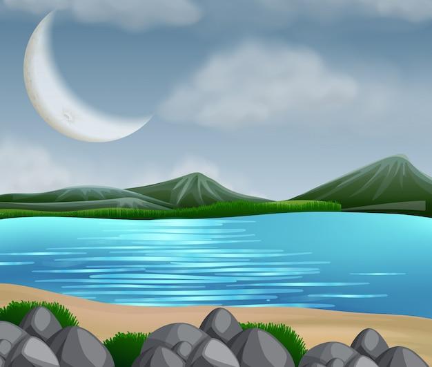 Scène De Lac Avec Des Montagnes Vecteur Premium
