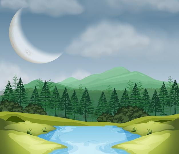 Scène de lune sur bois Vecteur gratuit