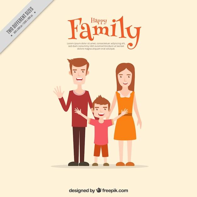 Scène mignonne de famille souriante Vecteur gratuit