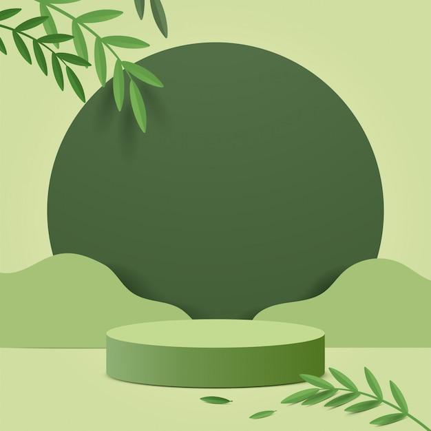 Scène Minimale Abstraite Avec Des Formes Géométriques. Cylindre Podium Dans La Nature Fond Vert Avec Des Feuilles De Plantes Vertes. Vecteur Premium