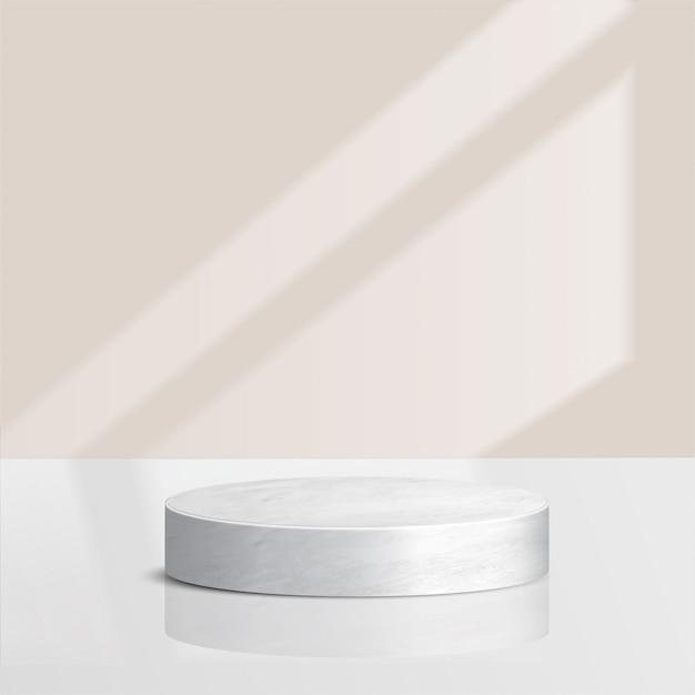 Scène Minimale Abstraite Avec Des Formes Géométriques. Cylindre Podium En Marbre Avec Des Feuilles. Présentation Du Produit. Podium, Socle De Scène Ou Plateforme. 3d Vecteur Premium