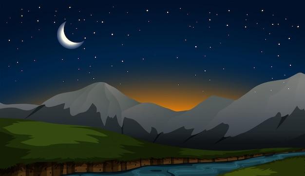 Scène de montagne la nuit Vecteur Premium