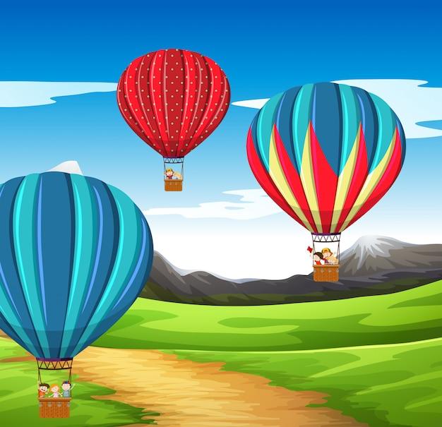 Scène de montgolfière Vecteur gratuit