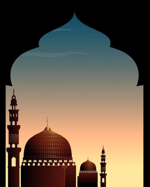 Scène avec mosquée au crépuscule Vecteur gratuit