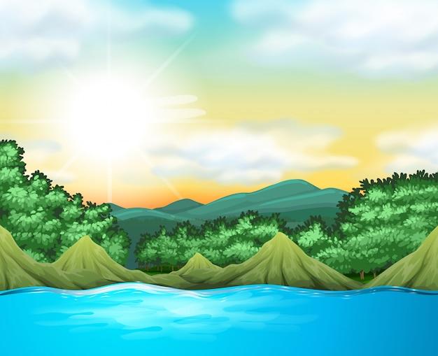 Scène nature avec arbres et lac Vecteur gratuit