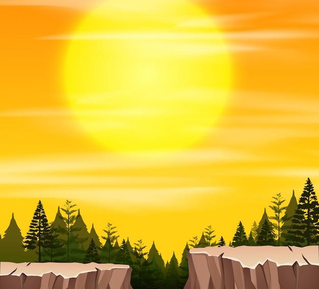 Une scène de nature au coucher du soleil Vecteur Premium