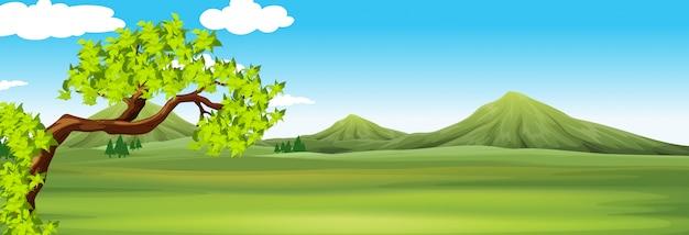 Scène De La Nature Avec Champ Vert Vecteur gratuit