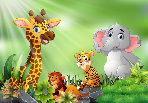 Scène de la nature avec dessin animé d'animaux sauvages Vecteur Premium