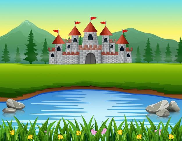 Scène de la nature devant le fond du château Vecteur Premium