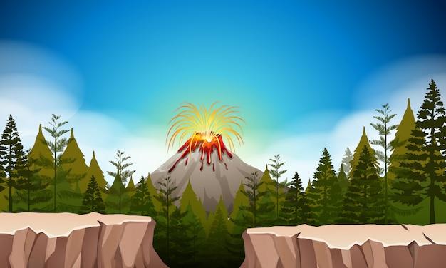 Scène de la nature avec éruption du volcan Vecteur gratuit