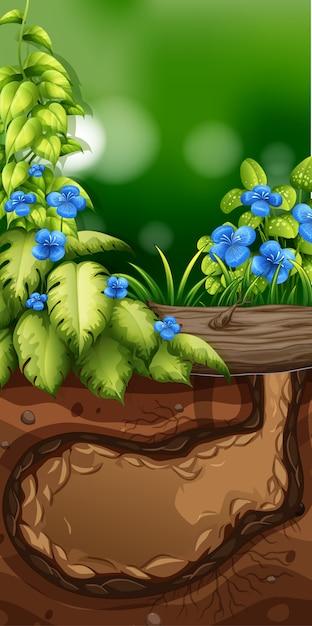 Scène de la nature avec des fleurs bleues dans le jardin Vecteur gratuit