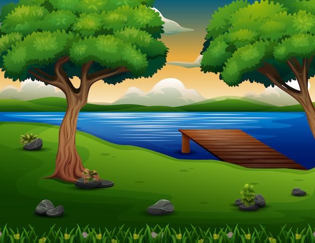 Scène de la nature avec une jetée en bois sur le fond du lac Vecteur Premium