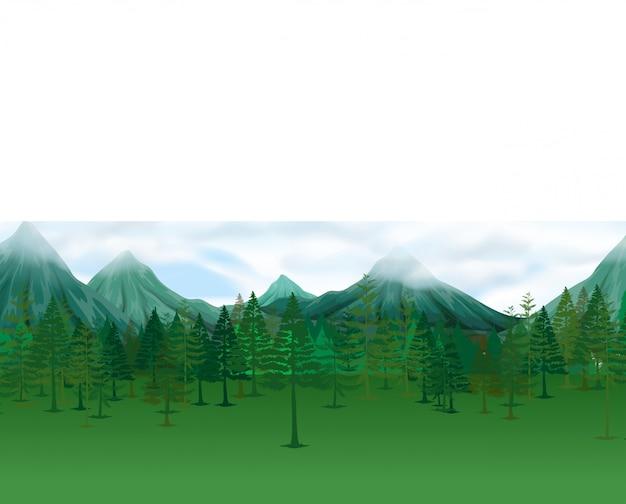Scène de la nature avec des pins et des montagnes Vecteur gratuit