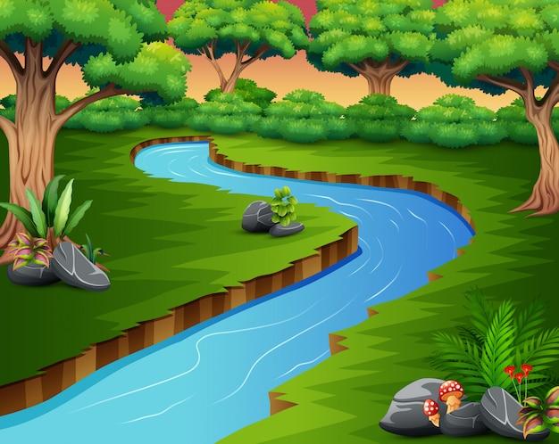 Scène de la nature de la rivière dans la forêt Vecteur Premium
