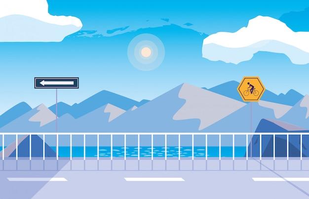 Scène de nature snowscape avec signalisation pour cycliste Vecteur Premium
