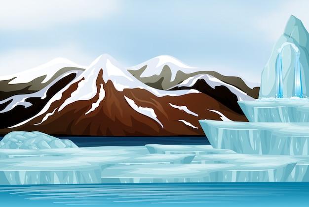 Scène de neige sur les montagnes Vecteur gratuit