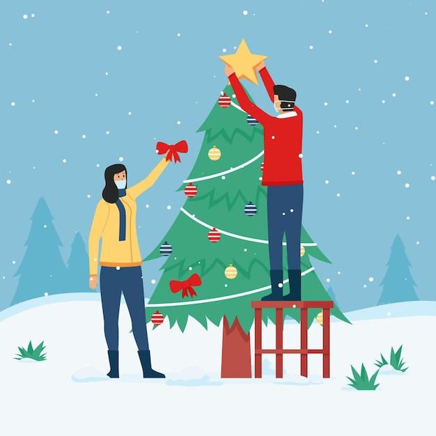 Scène De Neige De Noël Portant Des Masques Vecteur gratuit
