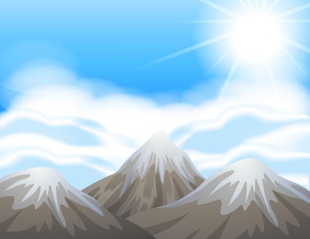 Scène avec de la neige sur les sommets des montagnes Vecteur gratuit