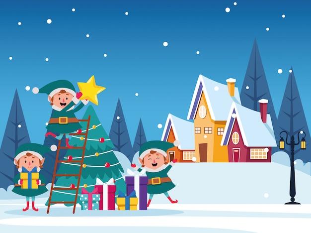 Scène de noël hiver paysage de neige avec illustration arbre et elfs Vecteur Premium