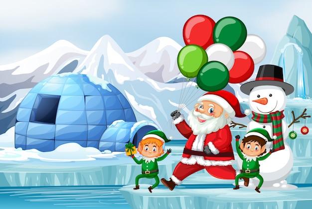 Scène De Noël Avec Le Père Noël Et Les Elfes Vecteur gratuit