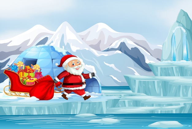 Scène De Noël Avec Le Père Noël Et Présente Une Illustration Vecteur gratuit
