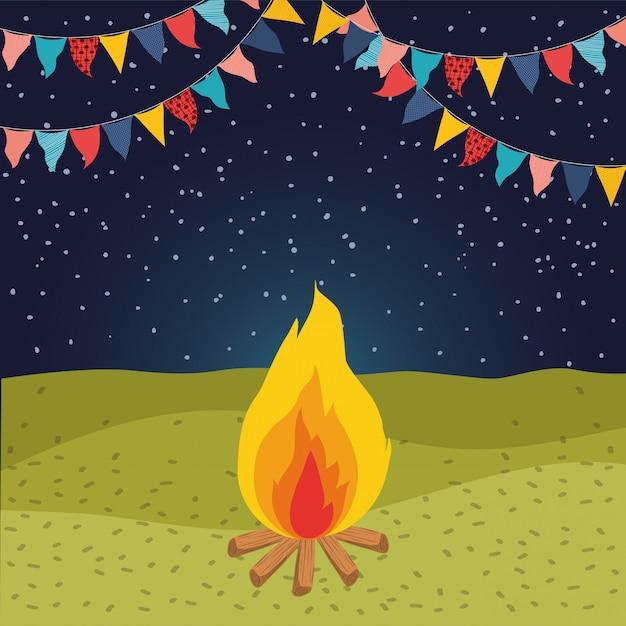 Scène de nuit avec feu de camp et guirlandes Vecteur Premium