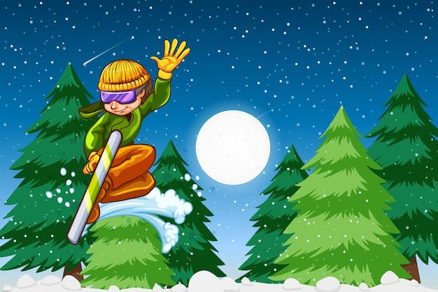 Scène de nuit de snowboard de garçon Vecteur Premium