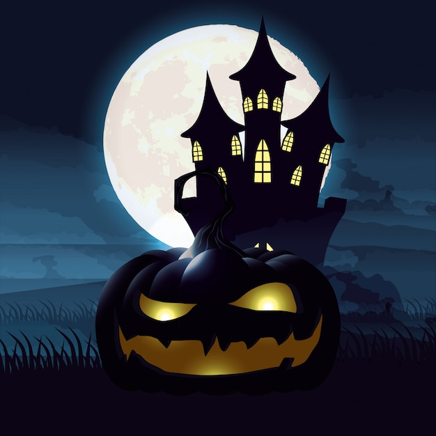 Scène de nuit sombre halloween avec citrouille et château Vecteur gratuit