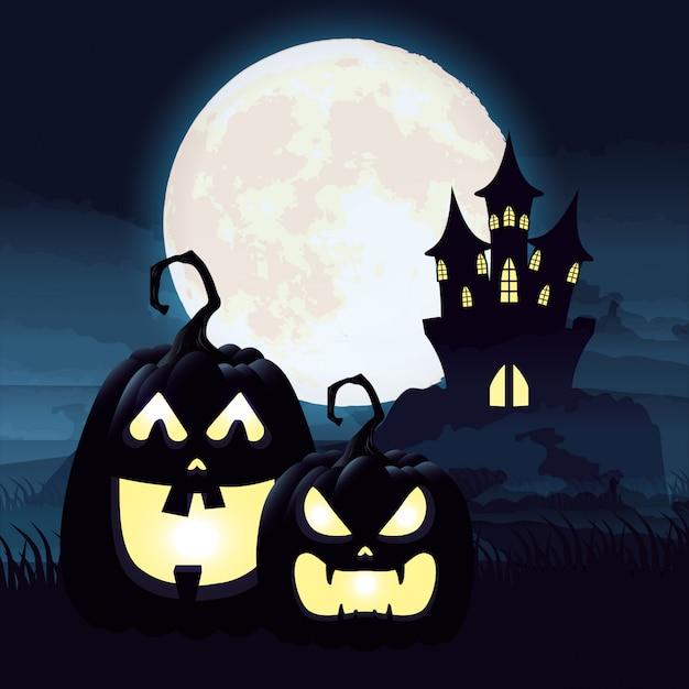 Scène de nuit sombre halloween avec citrouilles et château Vecteur gratuit