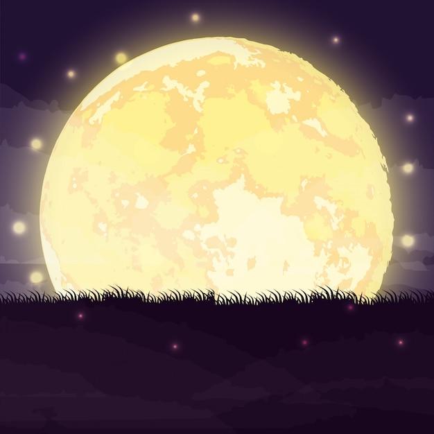 Scène de nuit sombre halloween avec la pleine lune Vecteur gratuit