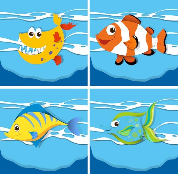 Scène de l'océan avec des animaux marins sous l'eau Vecteur gratuit