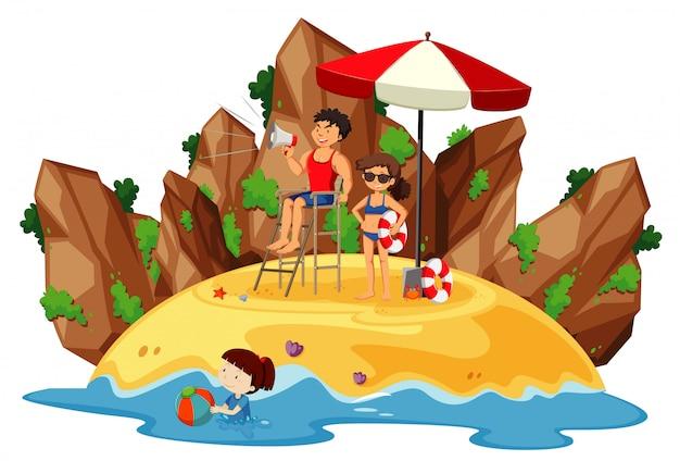 Scène De L'océan Avec Des Gens S'amusant Sur La Plage Vecteur gratuit
