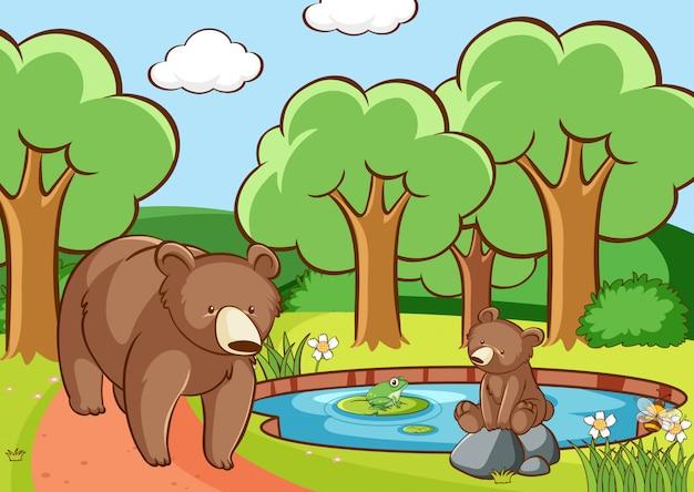 Scène avec des ours en forêt Vecteur gratuit