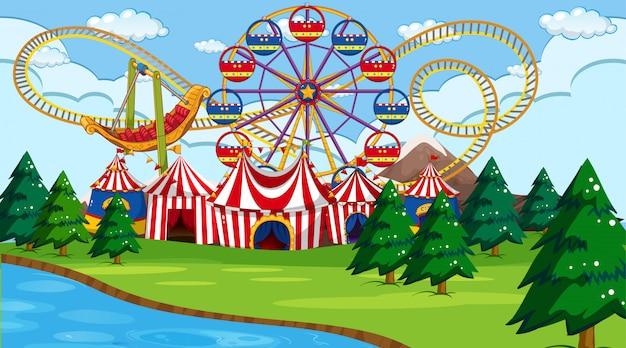 Scène de parc d'attractions ou fond avec rivière Vecteur gratuit
