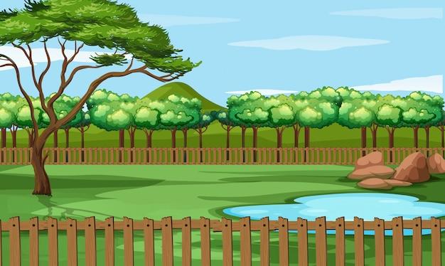 Scène de parc avec étang et arbres Vecteur Premium