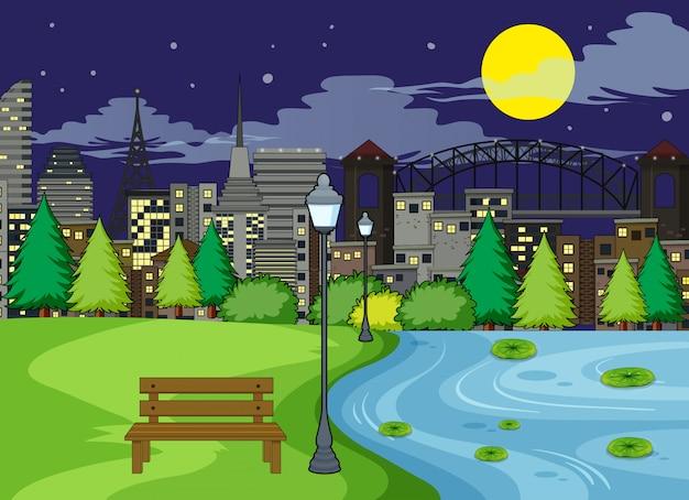 Une scène de parc la nuit Vecteur gratuit