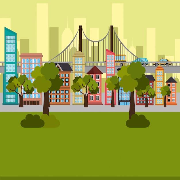 Scène de parc et paysage urbain Vecteur gratuit