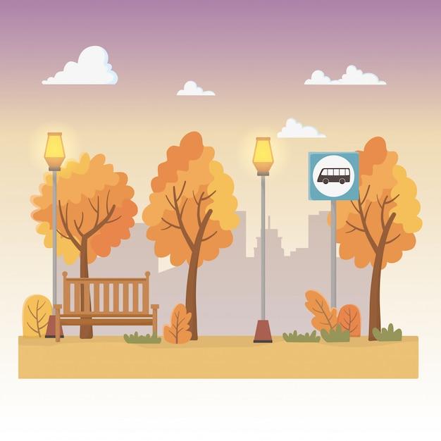 Scène de parc de la ville avec des lanternes et un arrêt de bus Vecteur gratuit