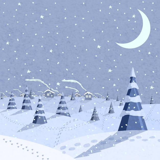 Scène de paysage d'hiver Vecteur gratuit