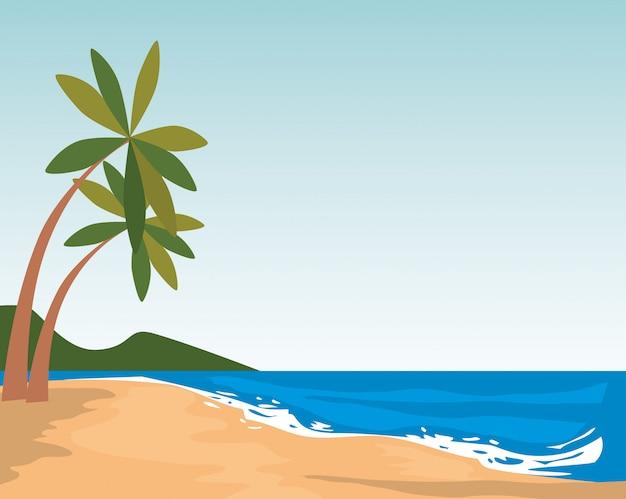 Scène de paysage marin de plage Vecteur gratuit