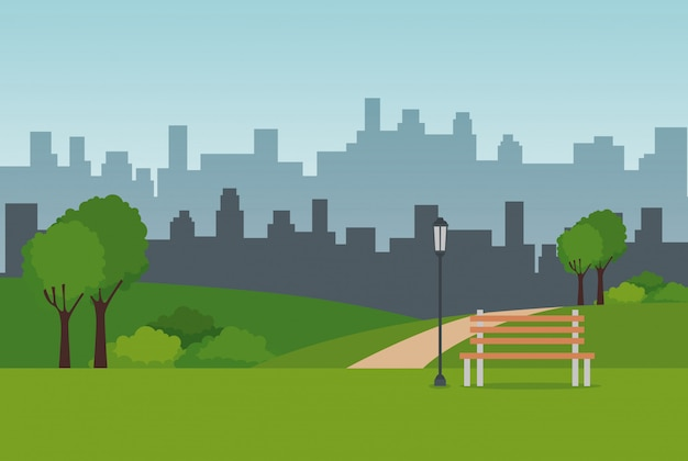 Scène de paysage de parc Vecteur gratuit