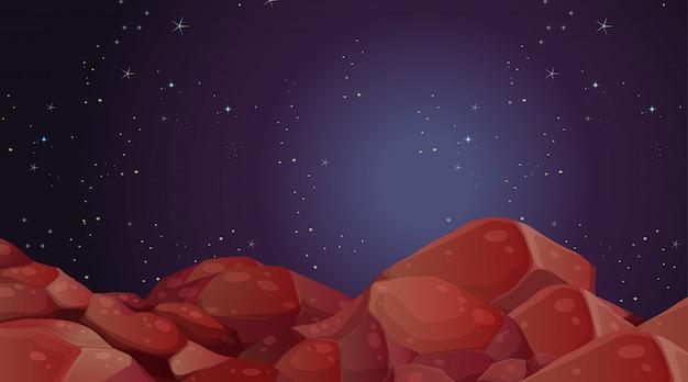 Scène de paysage de la planète spatiale Vecteur gratuit
