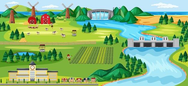 Scène De Paysage Rural Agricole Vecteur gratuit