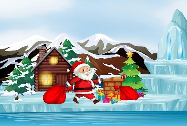 Scène Avec Le Père Noël En Hiver Vecteur gratuit