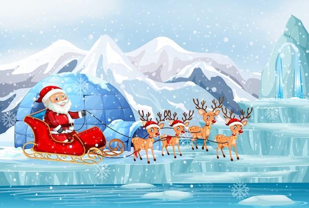 Scène Avec Le Père Noël Et Les Rennes En Traîneau Vecteur gratuit