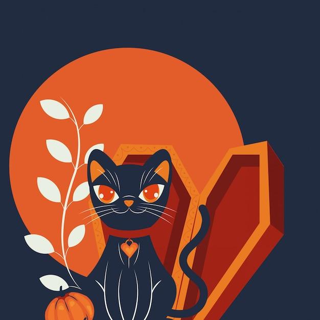 Scène de personnage déguisée chat halloween Vecteur gratuit